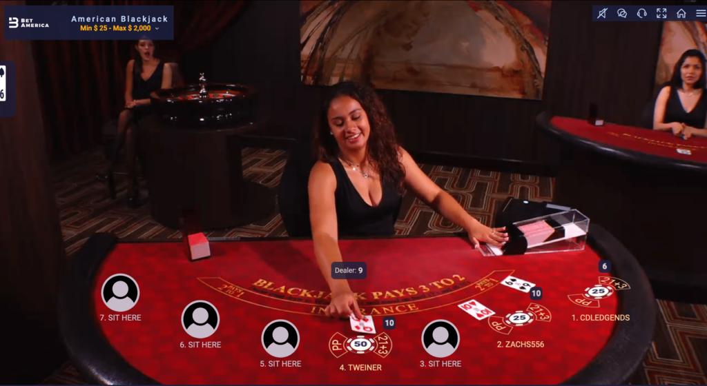 BetAmerica live dealer blackjack