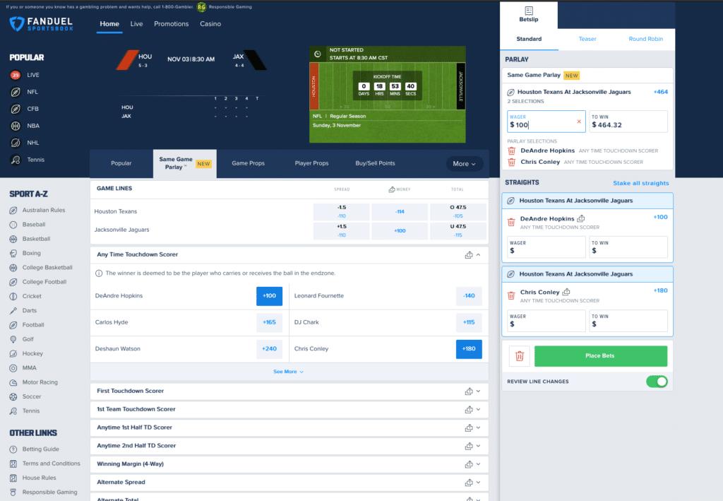 FanDuel NFL betting
