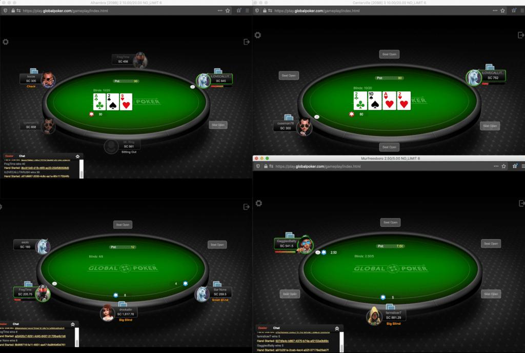 Global Poker multiple tables