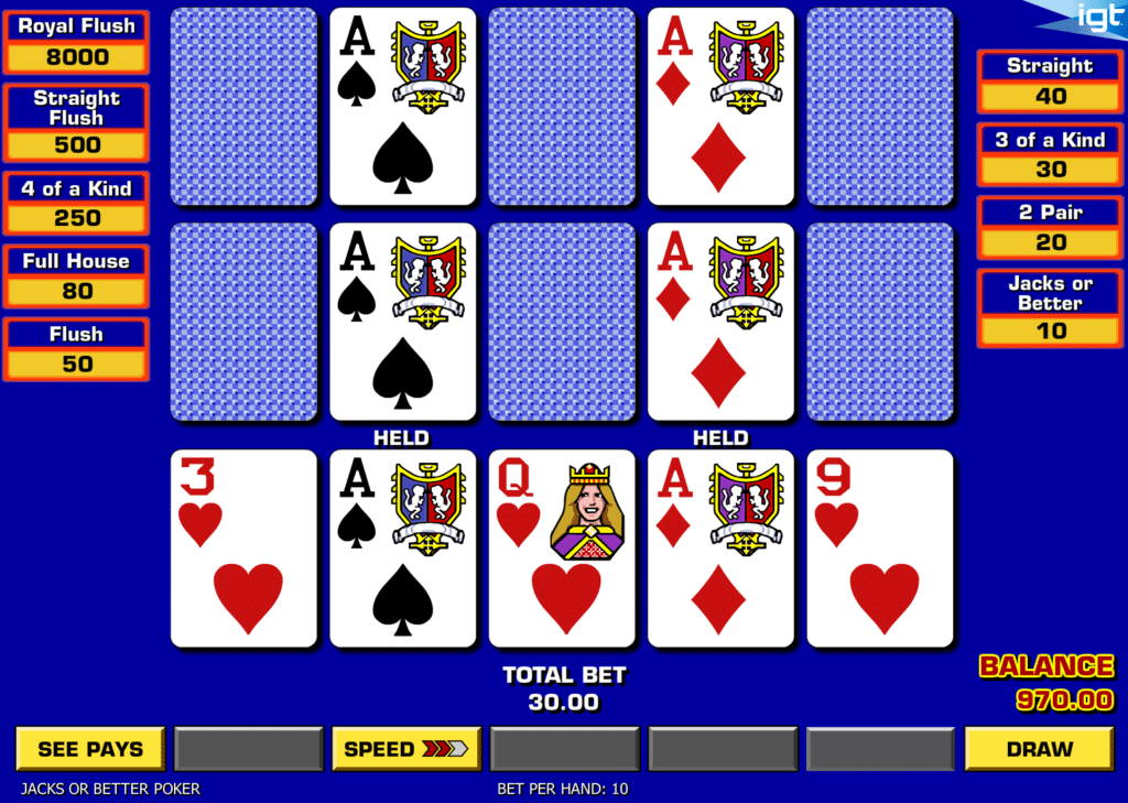 Scores video poker