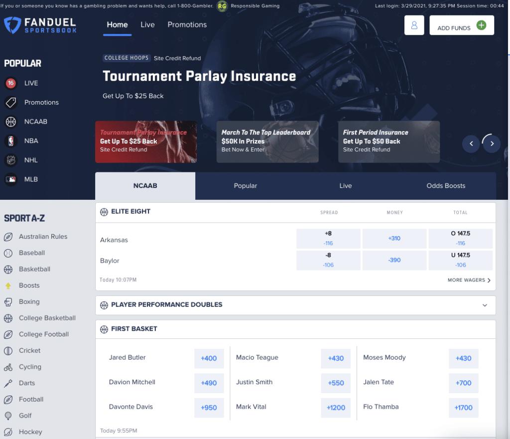 FanDuel Sportsbook screenshot